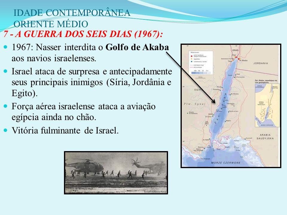 IDADE CONTEMPORÂNEA ORIENTE MÉDIO ING + FRA + ISR invadem a península do Sinai e o Egito. EUA e URSS, exigem a sua retirada das tropas invasoras. Cons