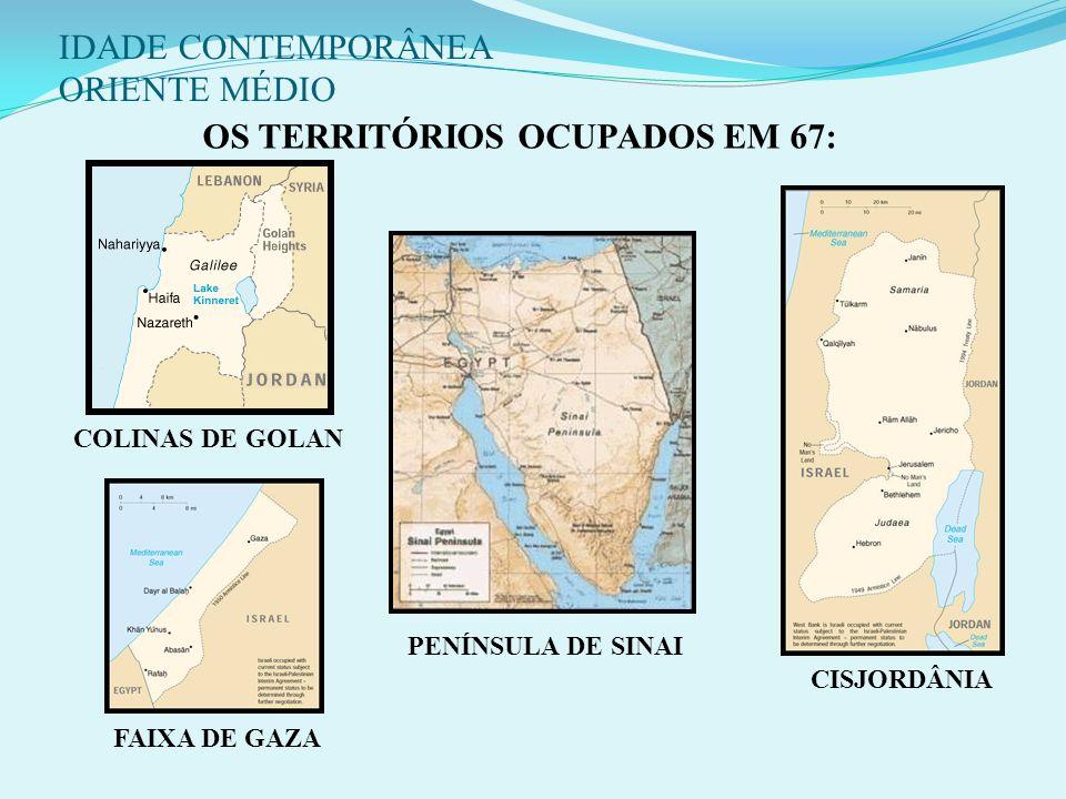 Conseqüências: ISR ocupa Faixa de Gaza, Península do Sinai (EGT), Cisjordânia (JOR) e as Colinas de Golã (SIR) - origem dos atuais problemas territori