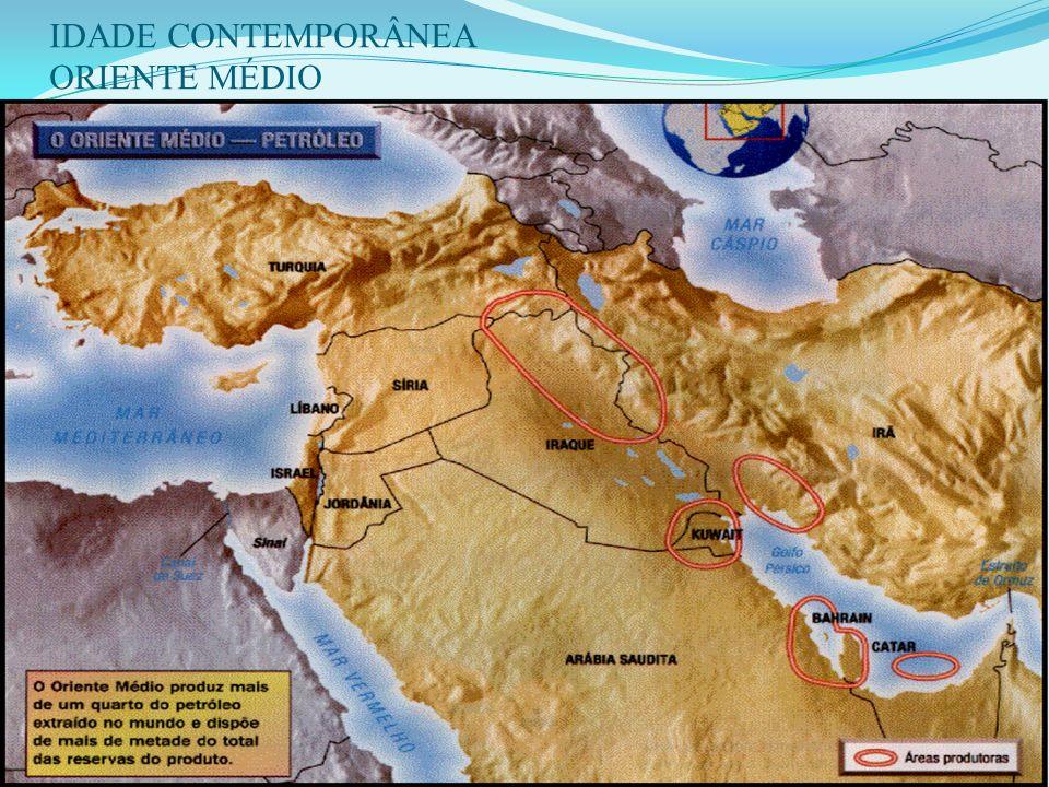 IDADE CONTEMPORÂNEA ORIENTE MÉDIO 1 - IMPORTÂNCIA DA REGIÃO: Maiores reservas de petróleo do mundo. Origem das primeiras grandes civilizações. Berço d