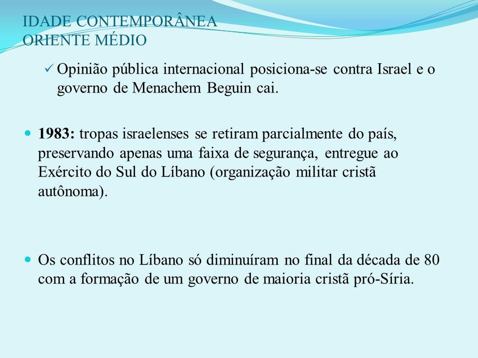IDADE CONTEMPORÂNEA ORIENTE MÉDIO 10- OPERAÇÃO DE PAZ NA GALILÉIA (1982): Tropas israelenses invadem o sul do Líbano para garantir a segurança de Isra