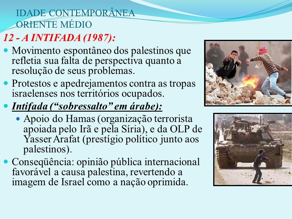 IDADE CONTEMPORÂNEA ORIENTE MÉDIO 1981: Sadat é assassinado por extremistas muçulmanos contrários ao acordo. 1982: Israel retira suas últimas tropas d