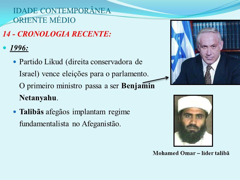 IDADE CONTEMPORÂNEA ORIENTE MÉDIO 4 de novembro de 1995: Itzhak Rabin é assassinado por estudante extremista judeu de 27 anos, Ygal Amir, contrário ao
