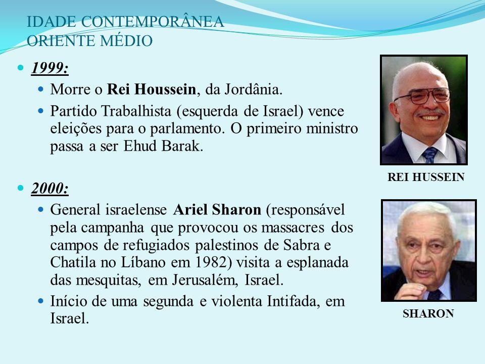 IDADE CONTEMPORÂNEA ORIENTE MÉDIO 14 - CRONOLOGIA RECENTE: 1996: Partido Likud (direita conservadora de Israel) vence eleições para o parlamento. O pr