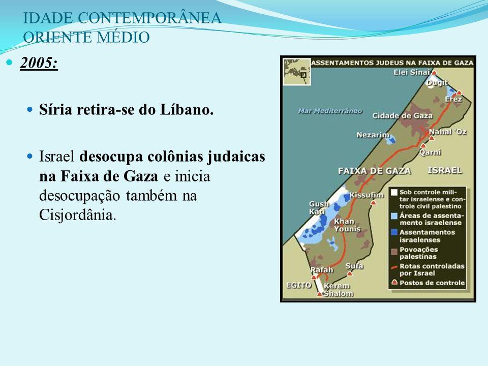 IDADE CONTEMPORÂNEA ORIENTE MÉDIO Israel começa a construção de muro para separar israelenses e palestinos na Cisjordânia. Iniciam inspeções da ONU no