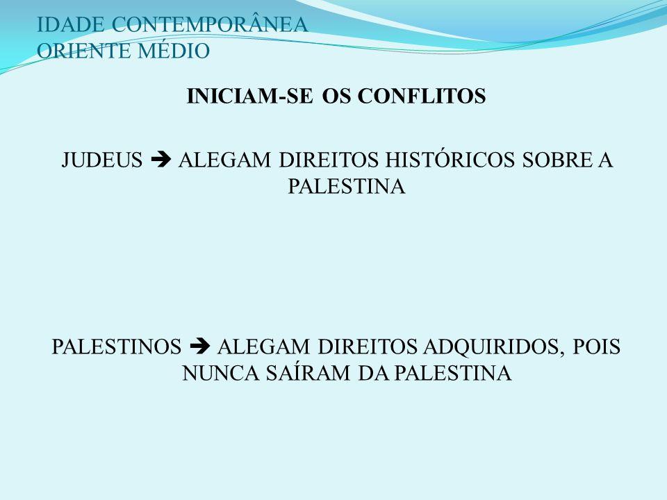 IDADE CONTEMPORÂNEA ORIENTE MÉDIO 3 - CENÁRIO PÓS - 1ª GUERRA: Declaração de Balfour (1917): apoio inglês à construção de um Estado judeu na palestina