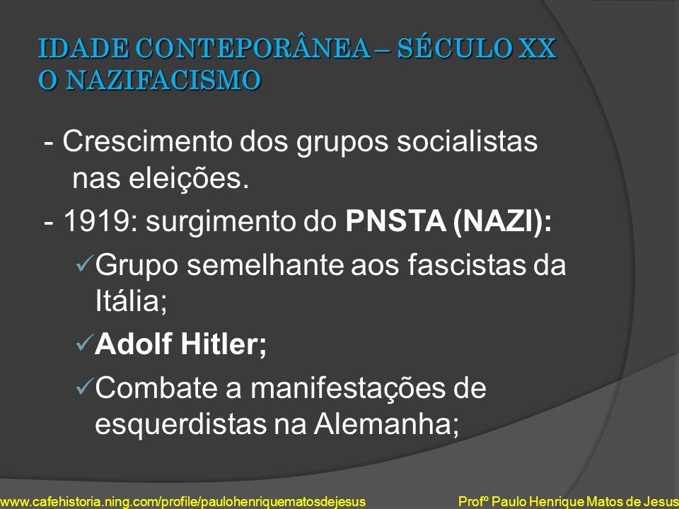 IDADE CONTEPORÂNEA – SÉCULO XX O NAZIFACISMO - Crescimento dos grupos socialistas nas eleições. - 1919: surgimento do PNSTA (NAZI): Grupo semelhante a