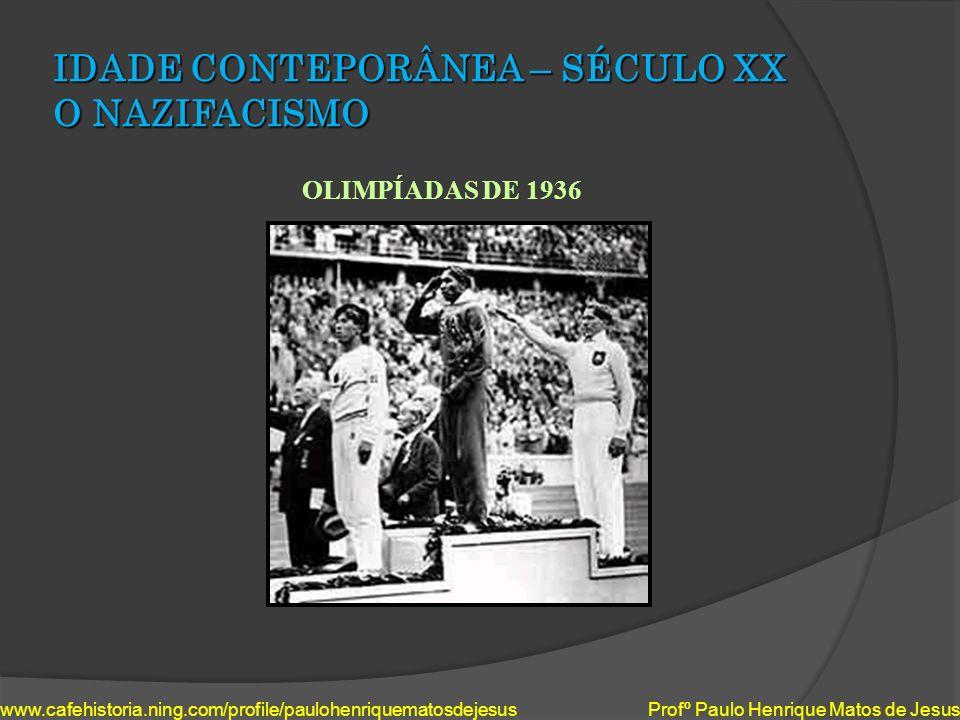 IDADE CONTEPORÂNEA – SÉCULO XX O NAZIFACISMO OLIMPÍADAS DE 1936 www.cafehistoria.ning.com/profile/paulohenriquematosdejesus Profº Paulo Henrique Matos
