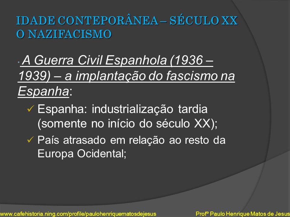 IDADE CONTEPORÂNEA – SÉCULO XX O NAZIFACISMO A Guerra Civil Espanhola (1936 – 1939) – a implantação do fascismo na Espanha: Espanha: industrialização