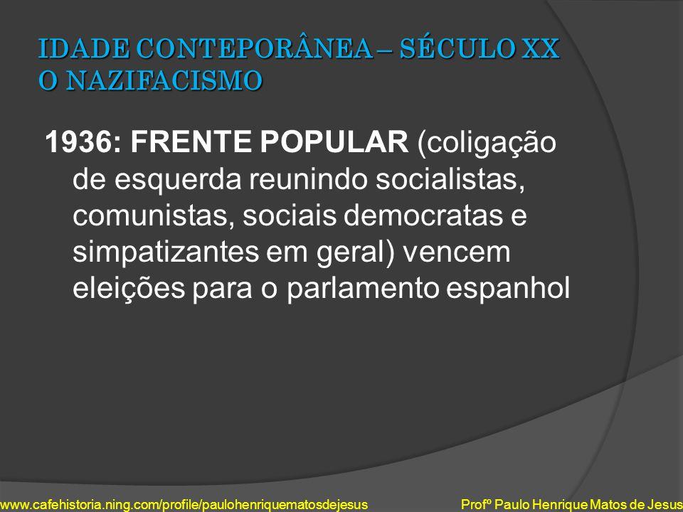 IDADE CONTEPORÂNEA – SÉCULO XX O NAZIFACISMO 1936: FRENTE POPULAR (coligação de esquerda reunindo socialistas, comunistas, sociais democratas e simpat