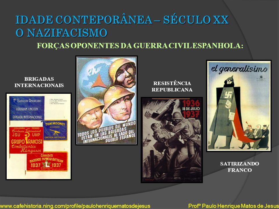 IDADE CONTEPORÂNEA – SÉCULO XX O NAZIFACISMO FORÇAS OPONENTES DA GUERRA CIVIL ESPANHOLA: www.cafehistoria.ning.com/profile/paulohenriquematosdejesus P