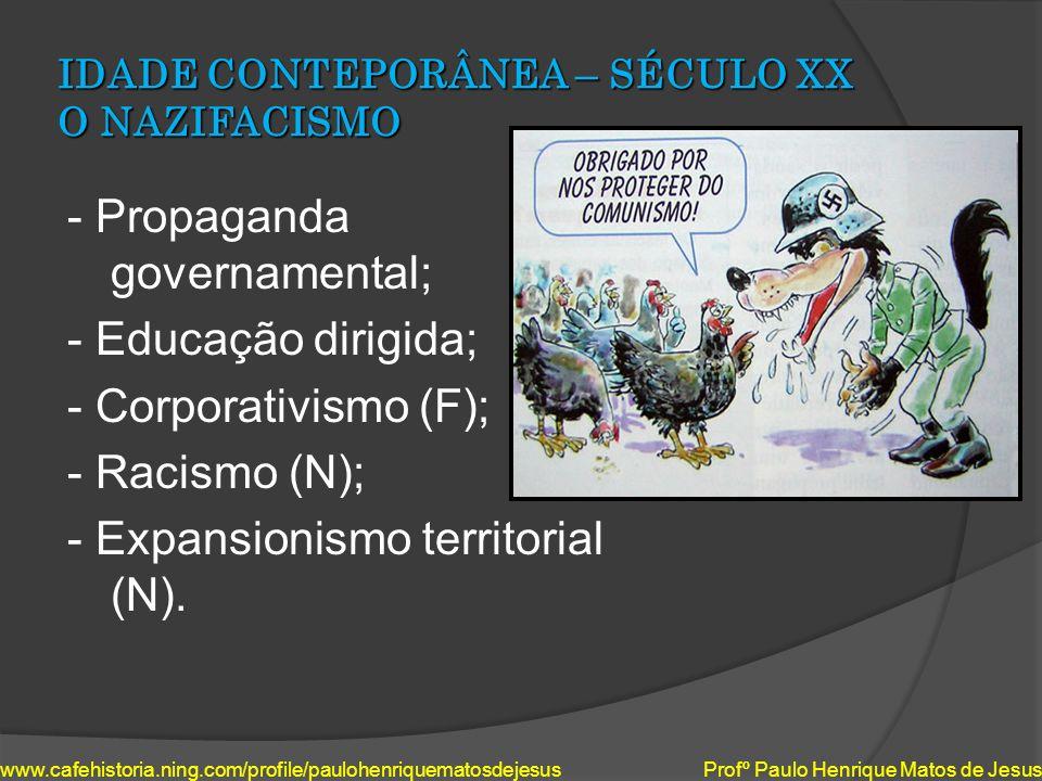 IDADE CONTEPORÂNEA – SÉCULO XX O NAZIFACISMO - Propaganda governamental; - Educação dirigida; - Corporativismo (F); - Racismo (N); - Expansionismo ter