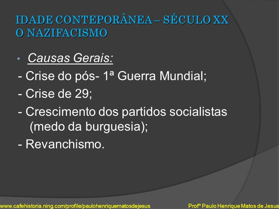 IDADE CONTEPORÂNEA – SÉCULO XX O NAZIFACISMO Causas Gerais: - Crise do pós- 1ª Guerra Mundial; - Crise de 29; - Crescimento dos partidos socialistas (