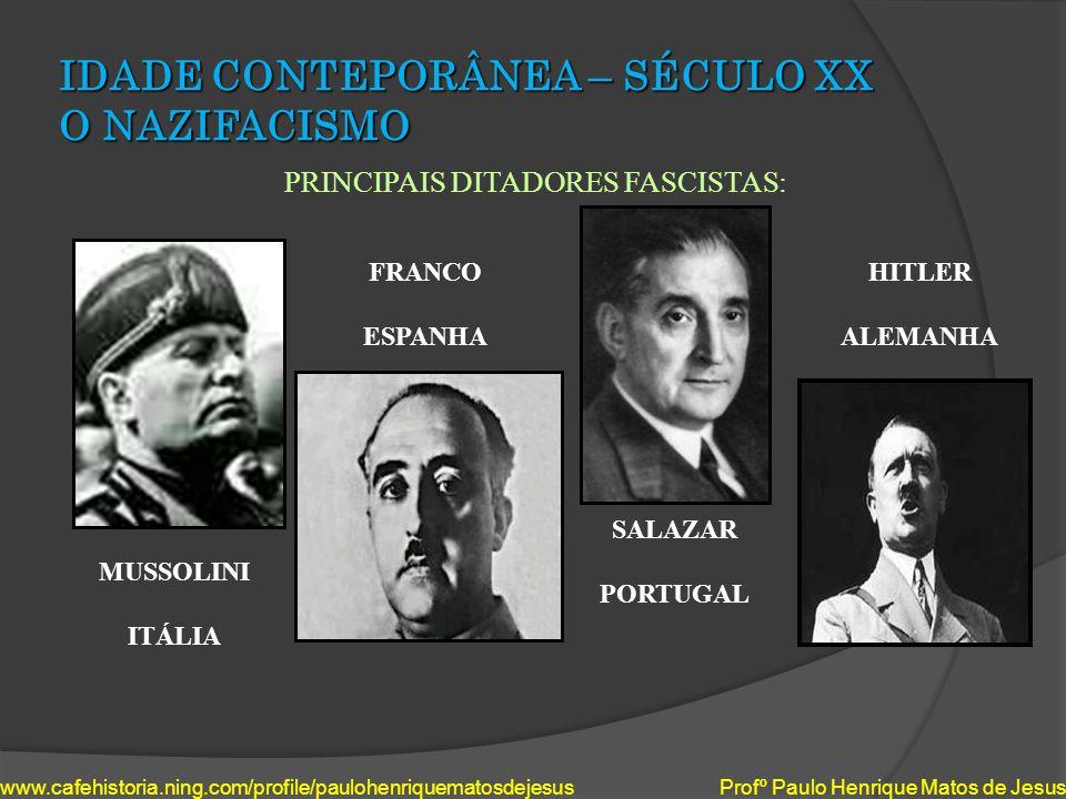 IDADE CONTEPORÂNEA – SÉCULO XX O NAZIFACISMO PRINCIPAIS DITADORES FASCISTAS: www.cafehistoria.ning.com/profile/paulohenriquematosdejesus Profº Paulo H