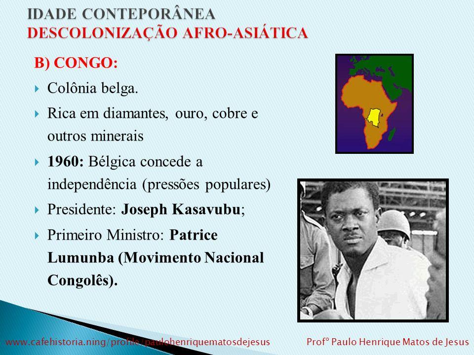 B) CONGO: Colônia belga.