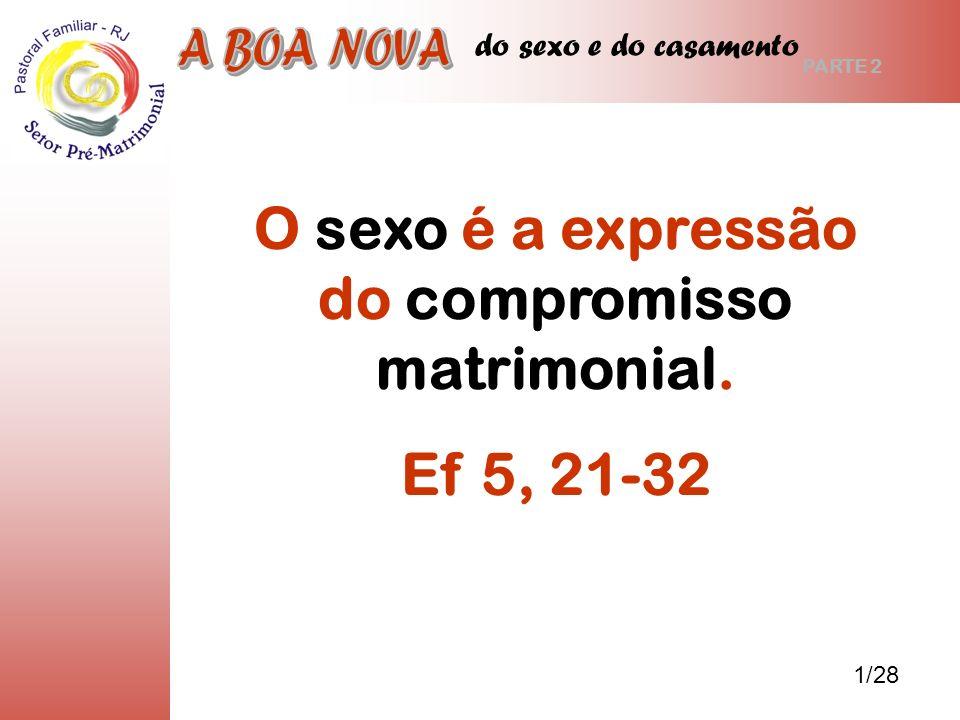 do sexo e do casamento O sexo é a expressão do compromisso matrimonial. Ef 5, 21-32 1/28 PARTE 2