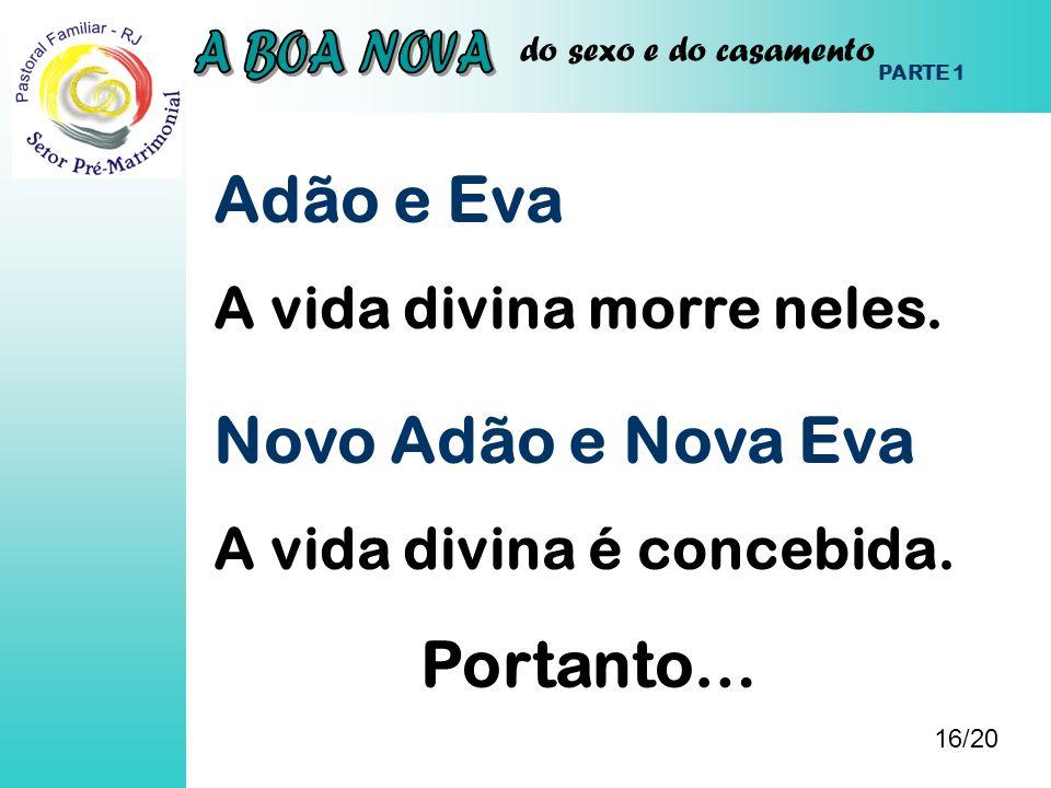 do sexo e do casamento Adão e Eva A vida divina morre neles. 16/20 PARTE 1 Novo Adão e Nova Eva A vida divina é concebida. Portanto…