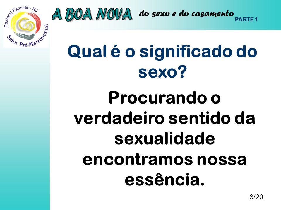 do sexo e do casamento Qual é o significado do sexo? 3/20 PARTE 1 Procurando o verdadeiro sentido da sexualidade encontramos nossa essência.