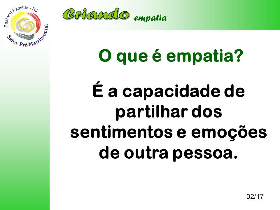 O que é empatia? 02/17 empatia É a capacidade de partilhar dos sentimentos e emoções de outra pessoa.