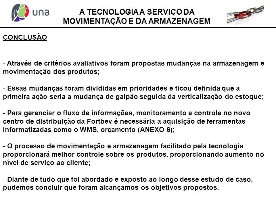 A TECNOLOGIA A SERVIÇO DA MOVIMENTAÇÃO E DA ARMAZENAGEM CONCLUSÃO - Através de critérios avaliativos foram propostas mudanças na armazenagem e movimen