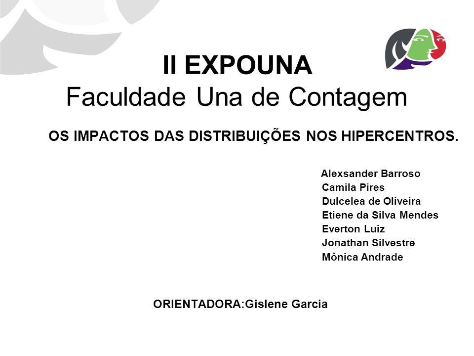 II EXPOUNA Faculdade Una de Contagem OS IMPACTOS DAS DISTRIBUIÇÕES NOS HIPERCENTROS. Alexsander Barroso Camila Pires Dulcelea de Oliveira Etiene da Si