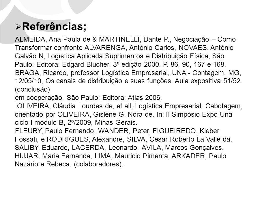 Referências; ALMEIDA, Ana Paula de & MARTINELLI, Dante P., Negociação – Como Transformar confronto ALVARENGA, Antônio Carlos, NOVAES, Antônio Galvão N