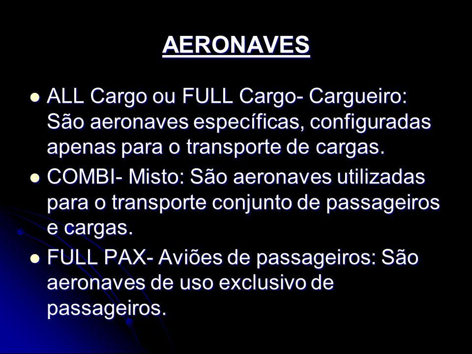 AERONAVES ALL Cargo ou FULL Cargo- Cargueiro: São aeronaves específicas, configuradas apenas para o transporte de cargas. ALL Cargo ou FULL Cargo- Car