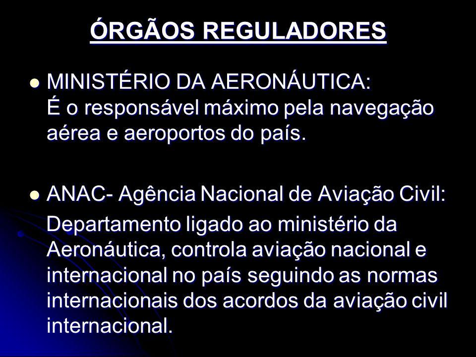 ÓRGÃOS REGULADORES MINISTÉRIO DA AERONÁUTICA: É o responsável máximo pela navegação aérea e aeroportos do país. MINISTÉRIO DA AERONÁUTICA: É o respons
