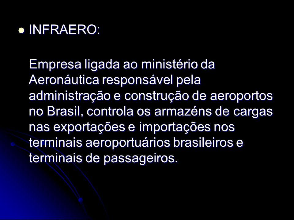 INFRAERO: INFRAERO: Empresa ligada ao ministério da Aeronáutica responsável pela administração e construção de aeroportos no Brasil, controla os armazéns de cargas nas exportações e importações nos terminais aeroportuários brasileiros e terminais de passageiros.