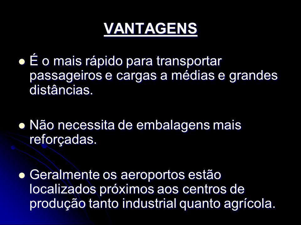 VANTAGENS É o mais rápido para transportar passageiros e cargas a médias e grandes distâncias. É o mais rápido para transportar passageiros e cargas a