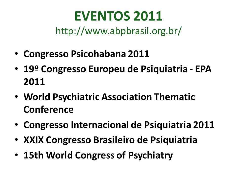 EVENTOS 2011 http://www.abpbrasil.org.br/ Congresso Psicohabana 2011 19º Congresso Europeu de Psiquiatria - EPA 2011 World Psychiatric Association The