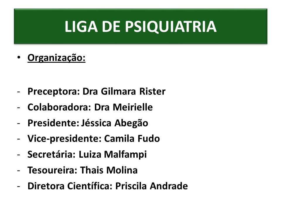 Organização: -Preceptora: Dra Gilmara Rister -Colaboradora: Dra Meirielle -Presidente: Jéssica Abegão -Vice-presidente: Camila Fudo -Secretária: Luiza