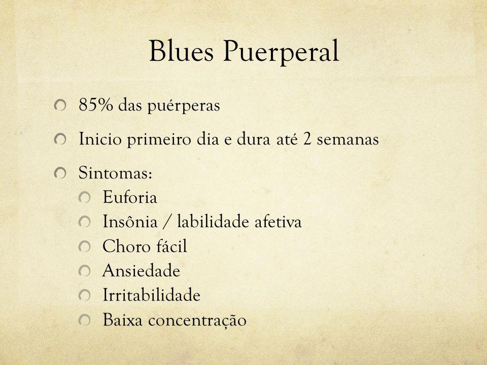 Blues Puerperal 85% das puérperas Inicio primeiro dia e dura até 2 semanas Sintomas: Euforia Insônia / labilidade afetiva Choro fácil Ansiedade Irrita