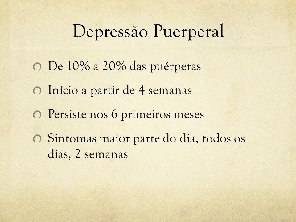 Depressão Puerperal De 10% a 20% das puérperas Início a partir de 4 semanas Persiste nos 6 primeiros meses Sintomas maior parte do dia, todos os dias,