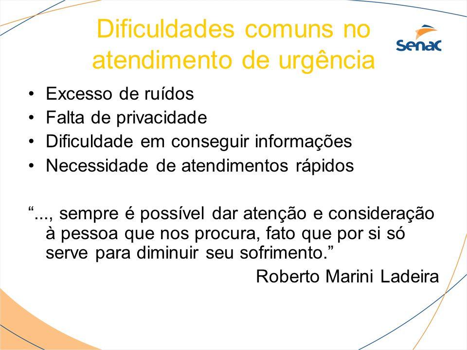 Dificuldades comuns no atendimento de urgência Excesso de ruídos Falta de privacidade Dificuldade em conseguir informações Necessidade de atendimentos