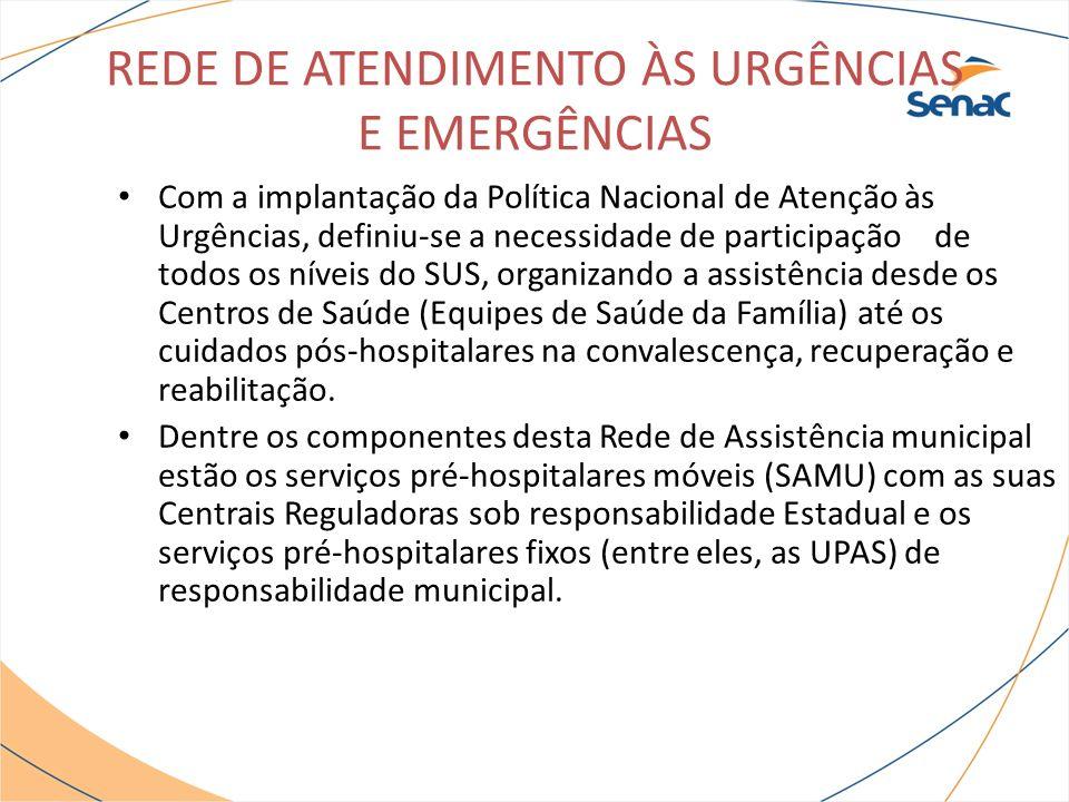 REDE DE ATENDIMENTO ÀS URGÊNCIAS E EMERGÊNCIAS As Unidades de Pronto Atendimento (UPAS 24h) são estruturas de complexidade intermediária entre os Centros de Saúde e as portas de urgência hospitalares (Estaduais), onde em conjunto com estas compõe uma rede organizada de Atenção às Urgências.