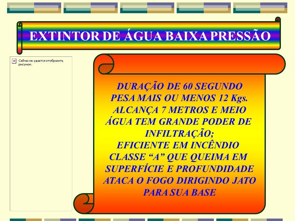 CLASSE A : SIM CLASSE B : NÃO CLASSE C : NÃO CLASSE D : NÃO EXTINTOR ÁGUA ÁGUA-10 L RESFRIAMENTO