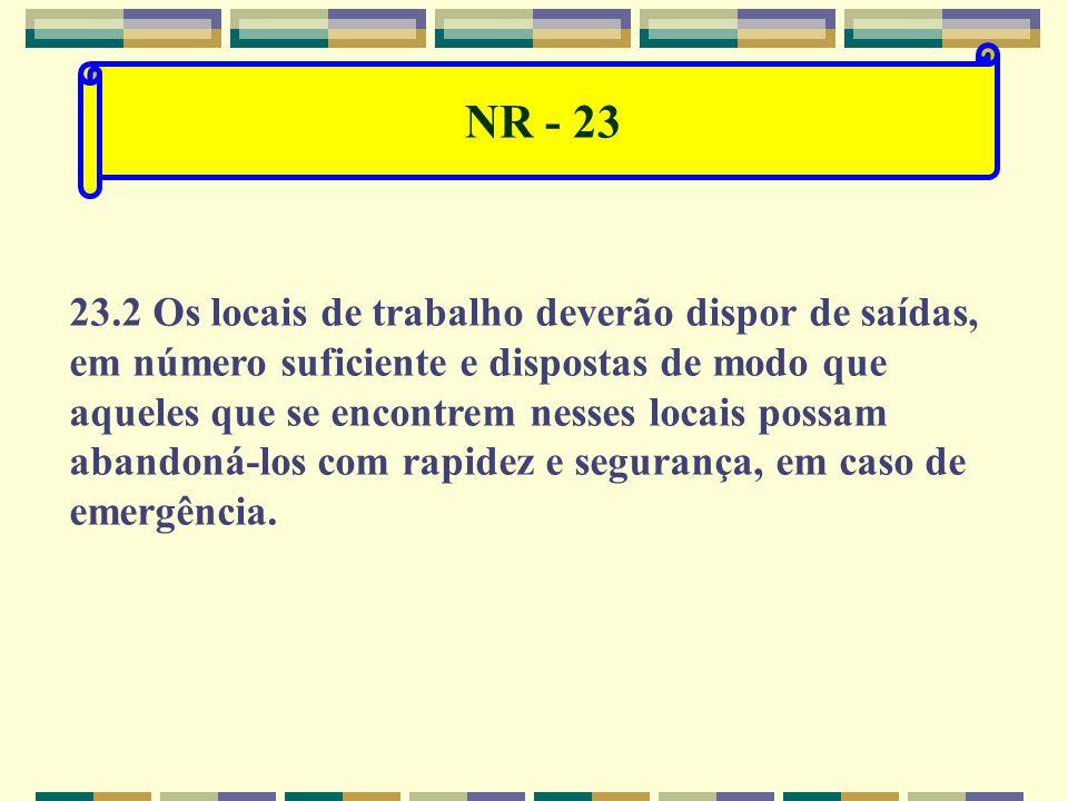 NR - 23 23.1 Disposições gerais. 23.1.1 Todas as empresas deverão possuir: a) proteção contra incêndio; b) saídas suficientes para a rápida retirada d