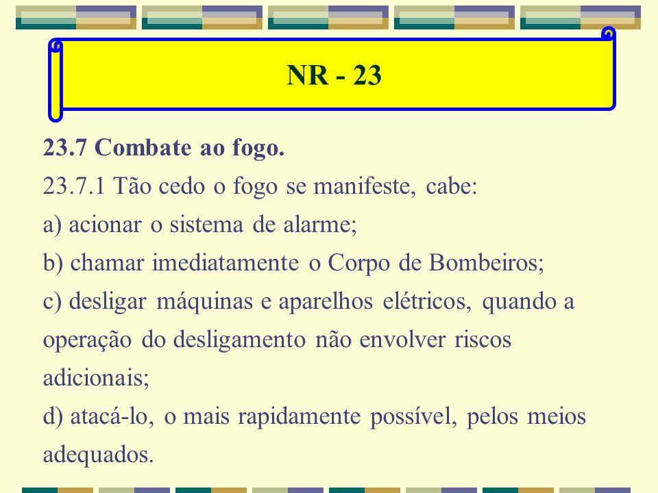 NR - 23 23.2 Os locais de trabalho deverão dispor de saídas, em número suficiente e dispostas de modo que aqueles que se encontrem nesses locais possa