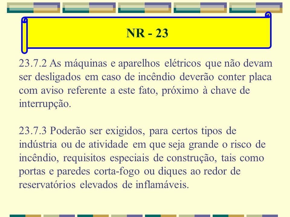 NR - 23 23.7 Combate ao fogo. 23.7.1 Tão cedo o fogo se manifeste, cabe: a) acionar o sistema de alarme; b) chamar imediatamente o Corpo de Bombeiros;