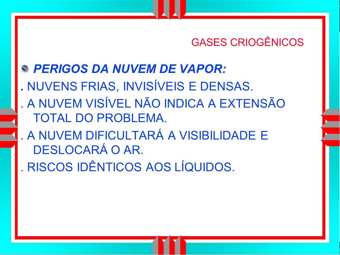 Título da Apresentação GASES CRIOGÊNICOS PERIGOS DA NUVEM DE VAPOR:.