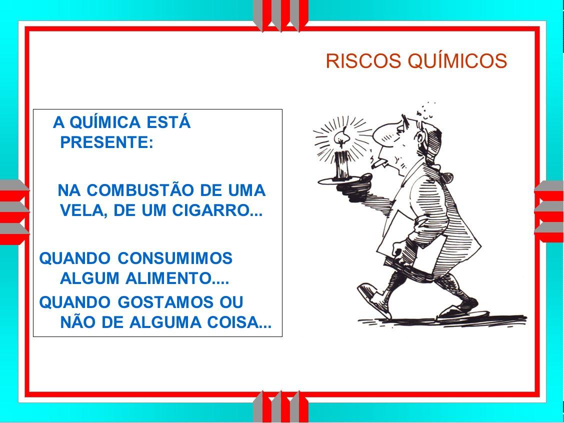 Título da Apresentação RISCOS QUÍMICOS A QUÍMICA ESTÁ PRESENTE: NA COMBUSTÃO DE UMA VELA, DE UM CIGARRO...