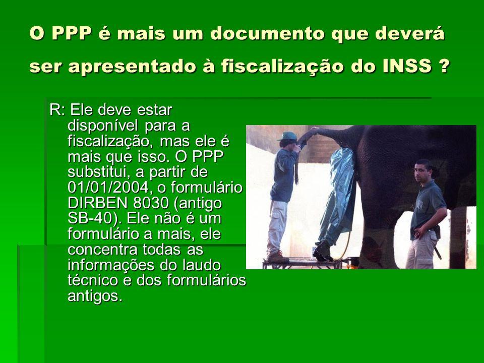 O PPP é mais um documento que deverá ser apresentado à fiscalização do INSS ? R: Ele deve estar disponível para a fiscalização, mas ele é mais que iss