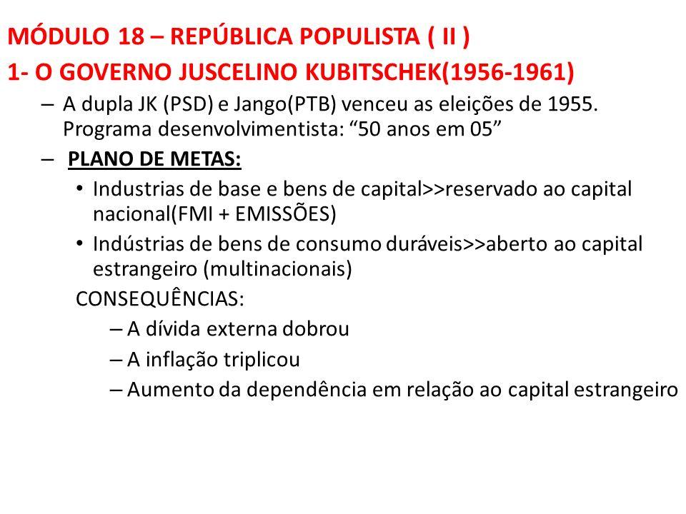 MÓDULO 18 – REPÚBLICA POPULISTA ( II ) 1- O GOVERNO JUSCELINO KUBITSCHEK(1956-1961) – A dupla JK (PSD) e Jango(PTB) venceu as eleições de 1955.