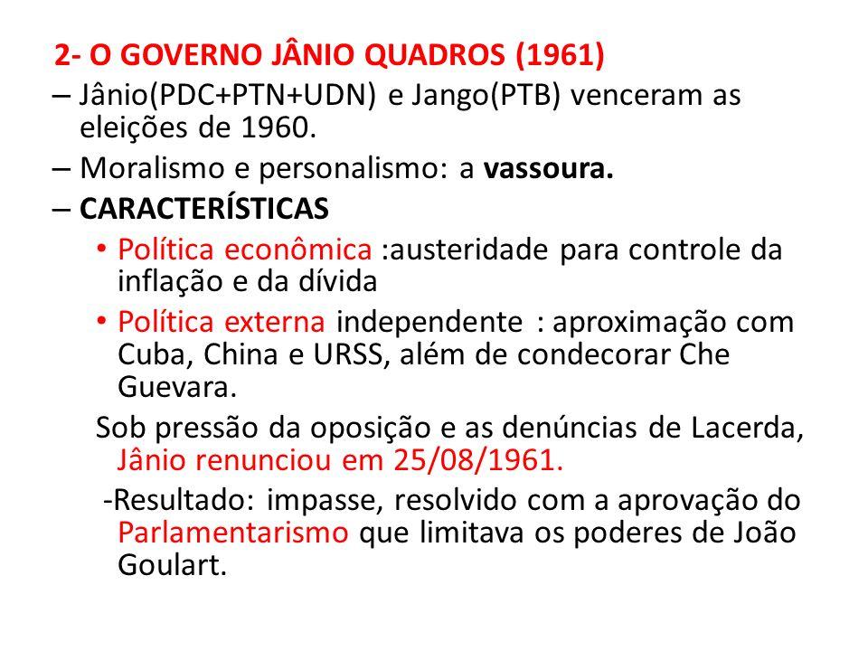3 - O GOVERNO JOÃO GOULART E O GOLPE DE 1964(1961- 1964) - Plano Trienal para combate à inflação e desenvolvimento social, devendo ser empreendido paralelo às REFORMAS DE BASE AGRÁRIA, BANCÁRIA E EDUCACIONAL.