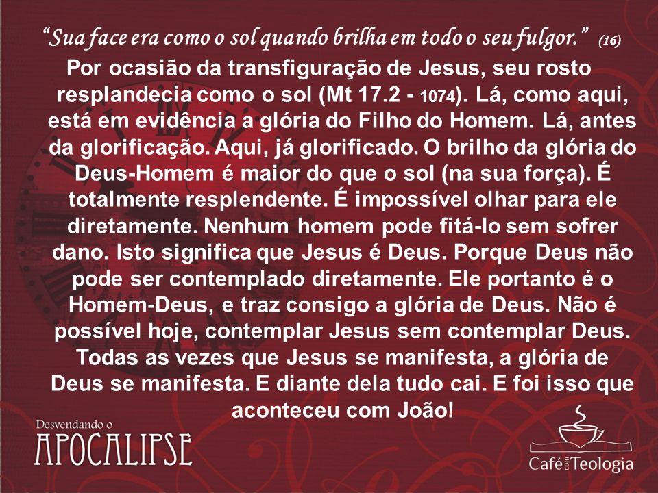 Sua face era como o sol quando brilha em todo o seu fulgor. (16) Por ocasião da transfiguração de Jesus, seu rosto resplandecia como o sol (Mt 17.2 -