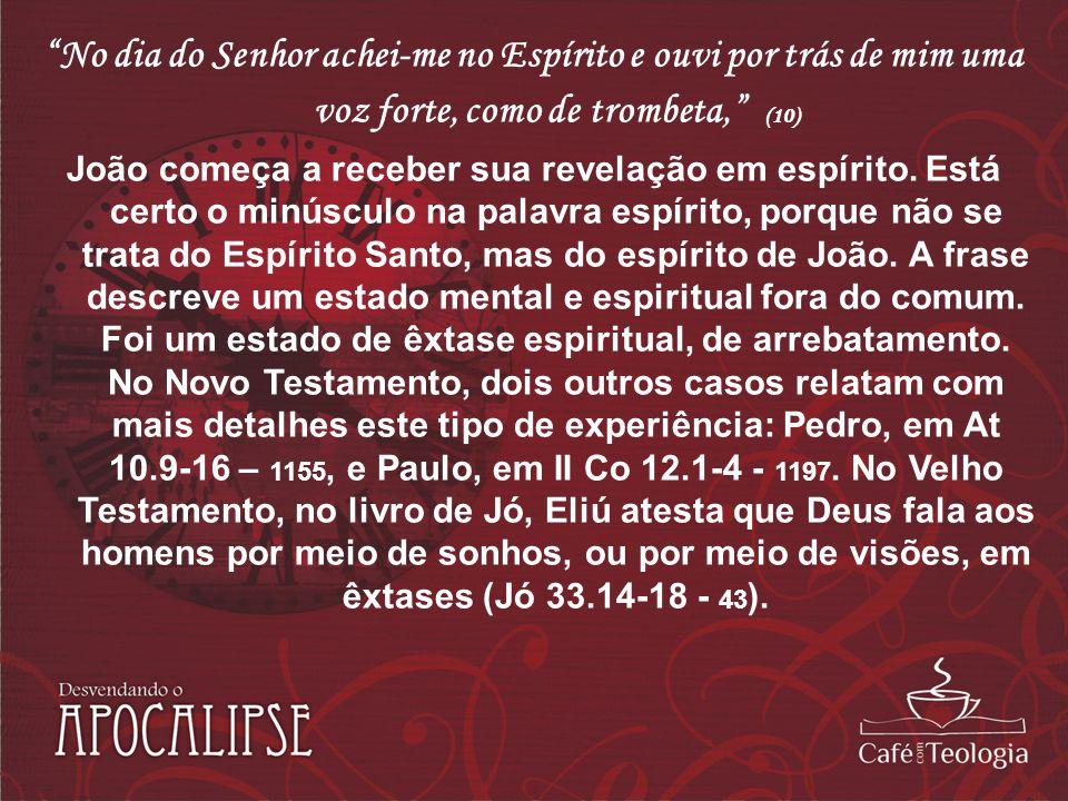 No dia do Senhor achei-me no Espírito e ouvi por trás de mim uma voz forte, como de trombeta, (10) João começa a receber sua revelação em espírito. Es