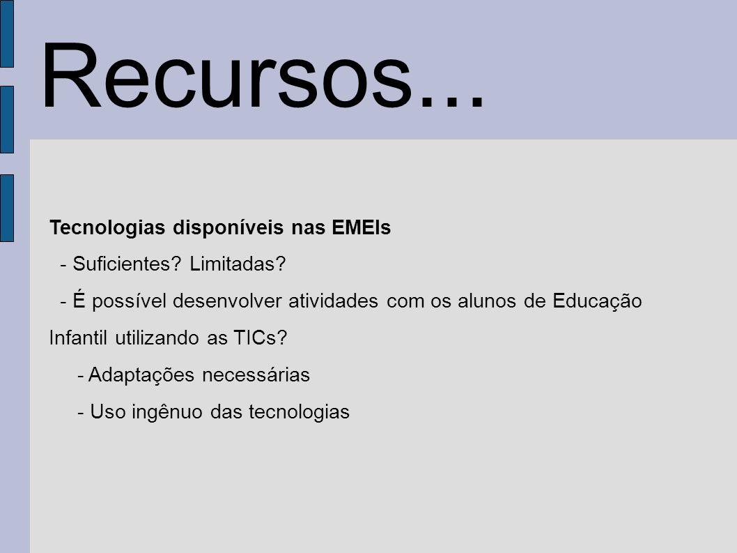 Tecnologias disponíveis nas EMEIs - Suficientes? Limitadas? - É possível desenvolver atividades com os alunos de Educação Infantil utilizando as TICs?