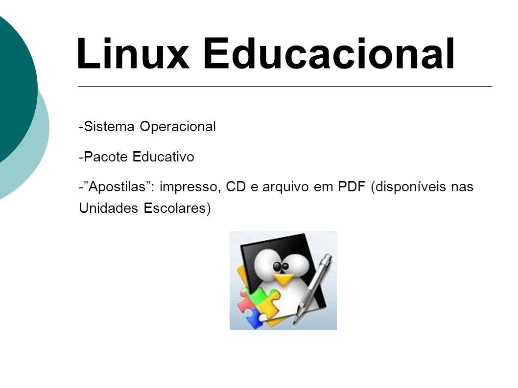 Linux Educacional -Sistema Operacional -Pacote Educativo -Apostilas: impresso, CD e arquivo em PDF (disponíveis nas Unidades Escolares)