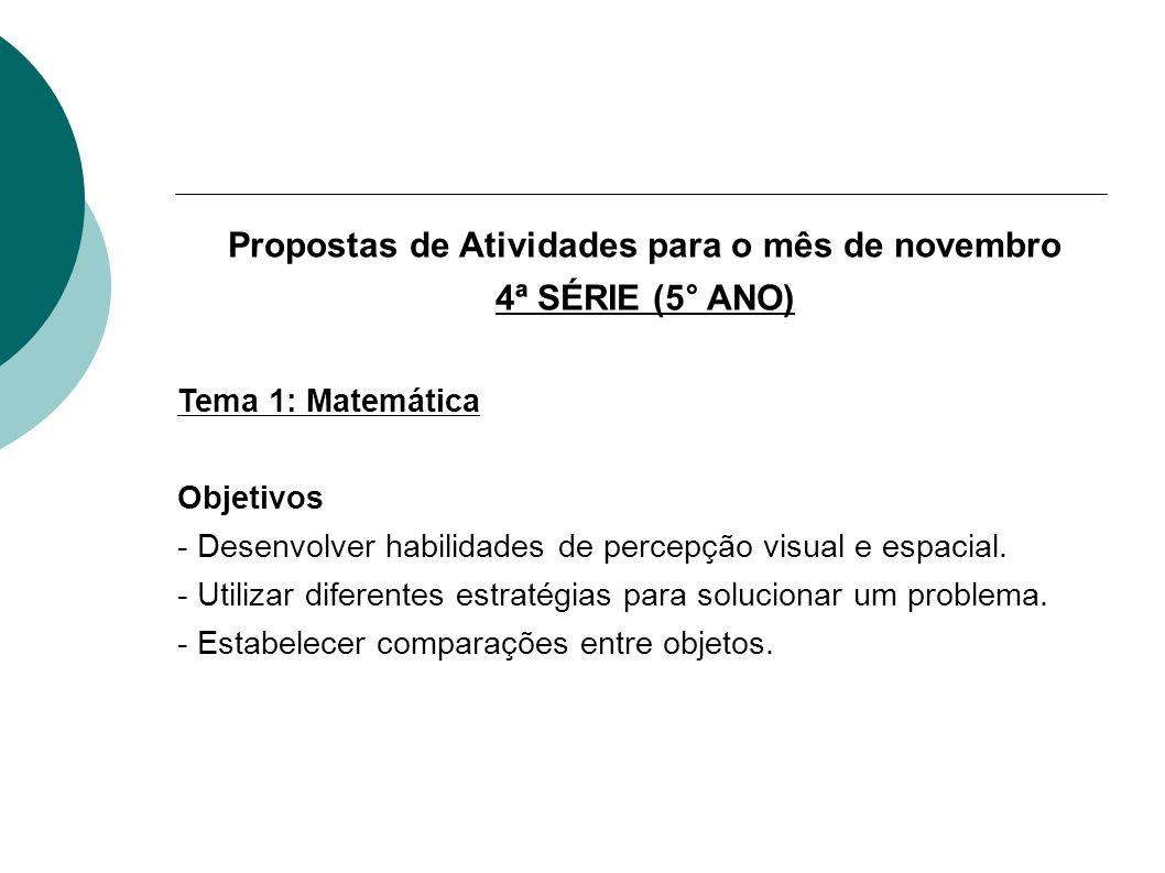 Propostas de Atividades para o mês de novembro 4ª SÉRIE (5° ANO) Tema 1: Matemática Objetivos - Desenvolver habilidades de percepção visual e espacial