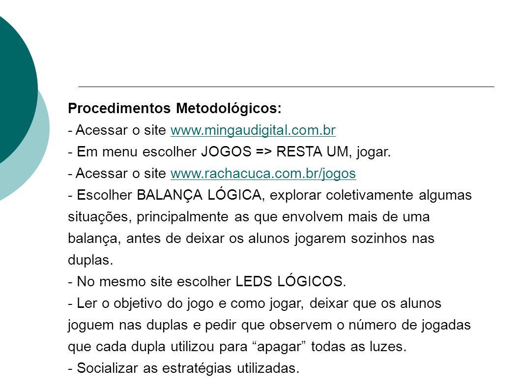 Procedimentos Metodológicos: - Acessar o site www.mingaudigital.com.brwww.mingaudigital.com.br - Em menu escolher JOGOS => RESTA UM, jogar. - Acessar